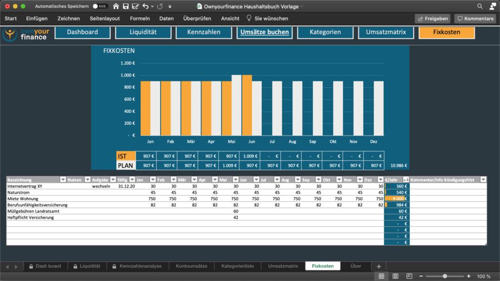 Fixkosten in der Haushaltsplan Excel Vorlage managen